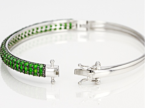 Chrome Diopside Sterling Silver Bangle Bracelet 6.03ctw