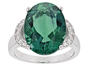 Teal Fluorite Sterling Silver Ring 11.50ctw