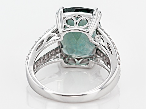 Teal Fluorite Sterling Silver Ring 7.74ctw