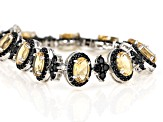 Yellow Brazilian Citrine Rhodium Over Sterling Silver Bracelet 18.07ctw