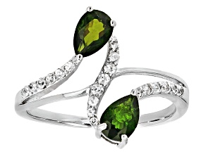 Green Russian Chrome Diopside Rhodium Over Sterling Silver Bypass Ring 1.12ctw