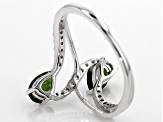 Green Russian Chrome Diopside Sterling Silver Bypass Ring 1.12ctw