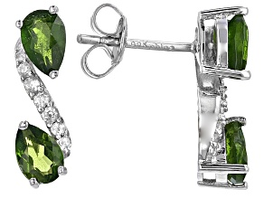 Green Russian Chrome Diopside Rhodium Over Sterling Silver Earrings 2.02ctw