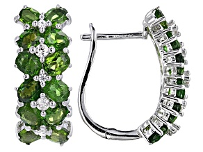 Green Russian Chrome Diopside Rhodium Over Sterling Silver Hoop Earrings 4.02ctw