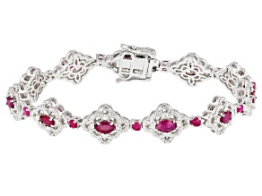 Red Burmese Ruby Sterling Silver Bracelet 3.63ctw