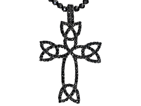 Black Spinel Sterling Silver Cross Pendant With Beaded Chain 22.75ctw