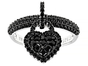 Black Spinel Rhodium Over Sterling Silver Heart Charm Ring 1.51ctw
