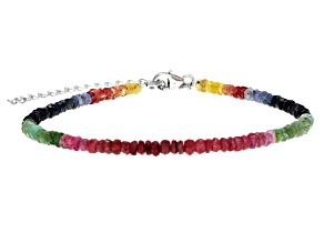 Red Ruby, Multi Sapphire & Emerald Sterling Silver Bead Bracelet 20.00ctw
