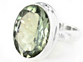 Green Prasiolite Sterling Silver Solitaire Ring 10.50ct