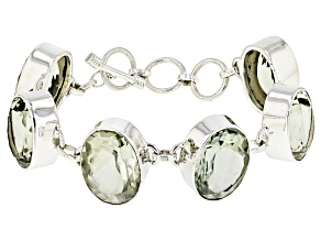 Green Brazilian Prasiolite Sterling Silver Adjustable Bracelet 66.00ctw