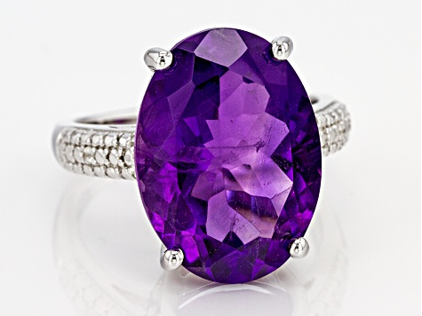 Purple African Amethyst Sterling Silver Ring 11.67ctw