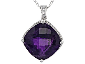 Purple African Amethyst Sterling Silver Pendant With Chain 12.20ctw