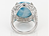 Blue Larimar Sterling Silver Ring 2.00ctw