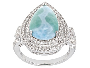 Blue Larimar Sterling Silver Ring 1.45ctw