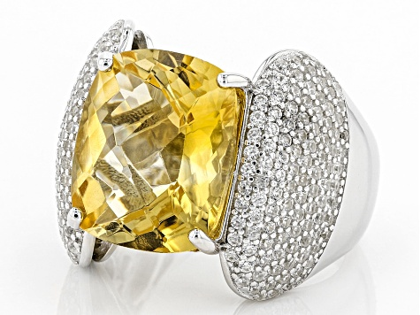 Yellow Brazilian Citrine Sterling Silver Ring 9.35ctw