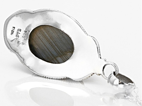 Gray Labradorite Sterling Silver Pendant With Chain