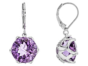 Purple Brazilian Amethyst Rhodium Over Sterling Silver Dangle Earrings 10.00ctw