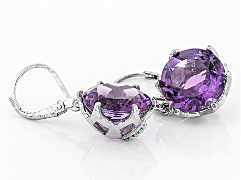Purple Brazilian Amethyst Sterling Silver Dangle Earrings 10.00ctw