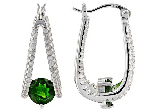 Green Russian Chrome Diopside Sterling Silver Hoop Earrings 3.00ctw