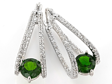 Hoop Russian Diopside Chrome 90ctw 1 Sterling Green Silver Earrings S1rwqg