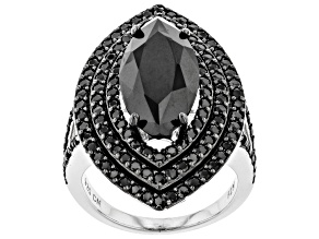 Black Spinel Sterling Silver Ring 12.03ctw