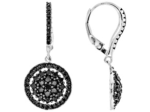 Black Spinel Rhodium Over Sterling Silver Cluster Earrings 1.59ctw