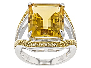 Yellow Brazilian Citrine Sterling Silver Ring 8.60ctw