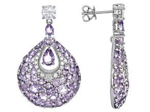 Purple Brazilian Amethyst Sterling Silver Earrings 8.05ctw