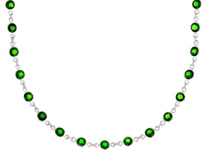 Green Russian Chrome Diopside Sterling Silver Station Necklace 11.50ctw