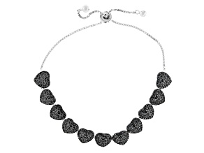 Black spinel rhodium over sterling silver bolo heart bracelet 2.42ctw