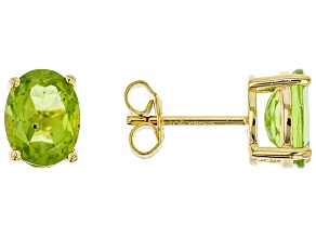 Green Peridot 14k Yellow Gold Over Sterling Silver Stud Earrings 4.00ctw