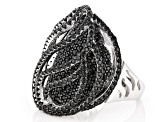 Black Spinel Cluster Sterling Silver Ring 4.46ctw