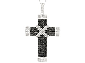 Black Spinel Cross Sterling Silver Pendant With Chain 2.54ctw