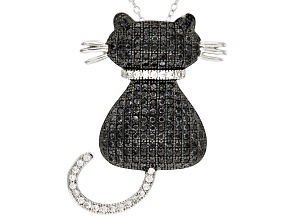 Black Spinel Cat Sterling Silver Pendant With Chain 1.99ctw