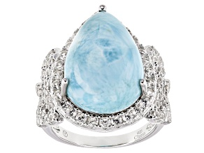 Blue Larimar Sterling Silver Ring 2.71ctw