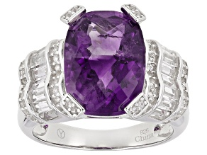 Purple African Amethyst Sterling Silver Ring 7.70ctw