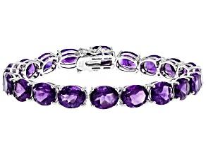 Purple African Amethyst Tennis Sterling Silver Bracelet 46.50
