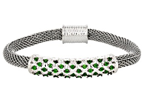 Green Russian Chrome Diopside Sterling Silver And Stainless Steel Bracelet 1.25ctw
