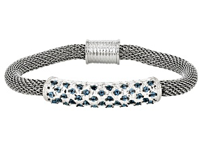 London Blue Topaz Sterling Silver And Stainless Steel Bracelet 1.25ctw