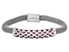 Raspberry Color Rhodolite Sterling Silver And Stainless Steel Bracelet 1.25ctw