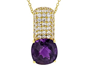 Purple African Amethyst 18k Yellow Gold Over Sterling Silver Pendant With Chain 6.85ctw