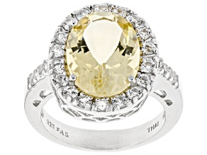 Yellow Brazilian Citrine Sterling Silver Ring  5.00ctw