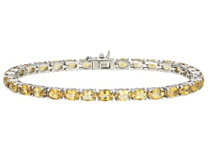 Yellow Brazilian Citrine Tennis Rhodium Over Sterling Silver Bracelet 12.35ctw