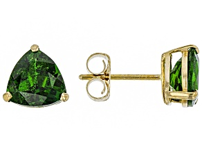 Green Russian chrome diopside 10K yellow gold stud earrings 1.85ctw