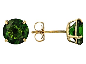 Green Russian chrome diopside 10K yellow gold stud earrings 1.80ctw