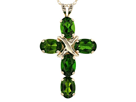 Green Russian Chrome Diopside 10k Yellow Gold Cross Pendant With Chain 2.50ctw
