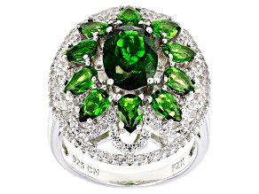 Green Russian Chrome Diopside and White Zircon Sterling Silver Ring 5.66ctw