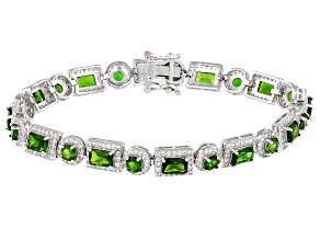 Green Russian Chrome Diopside Sterling Silver Bracelet 12.34ctw