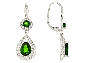 Green Russian Chrome Diopside Sterling Silver Dangle Earrings 4.33ctw