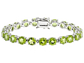 Green Peridot Rhodium Over Sterling Silver Bracelet 19.32ctw